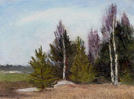 Ноябрь. Молодые деревья у поля. ( 1975, 17x13 ...: www.symchromism.com/bn/bpic12.php